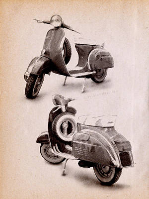 Mod Drawing - Vespa Scooter 1969 by Michael Tompsett
