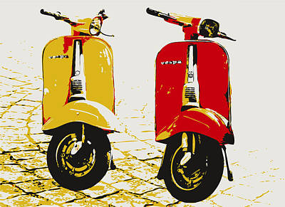 Yellow Digital Art - Vespa Scooter Pop Art by Michael Tompsett
