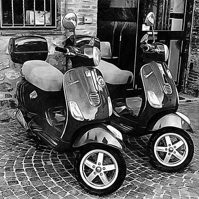 Photograph - Vespa Twins Black And White by Dorothy Berry-Lound