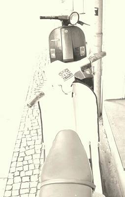 Photograph - Vespa Vs Vespa In Sepia by Nacho Vega