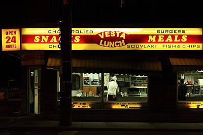 Vesta Lunch All Night Art Print by Kreddible Trout