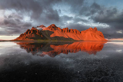 Sunset Photograph - Vestrahorn by Marco Calandra