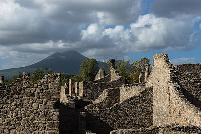 Photograph - Vesuvius Volcano Towering Over The Pompeii Ruins by Georgia Mizuleva