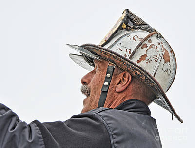 Photograph - Veteran Fire Fighter Directing His Crew Above by Jim Fitzpatrick