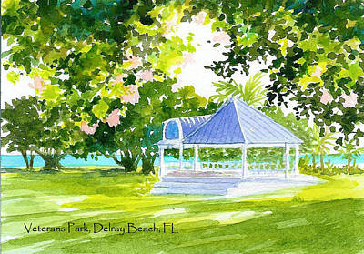 Veterans Park Gazebo Art Print by Anne Marie Brown