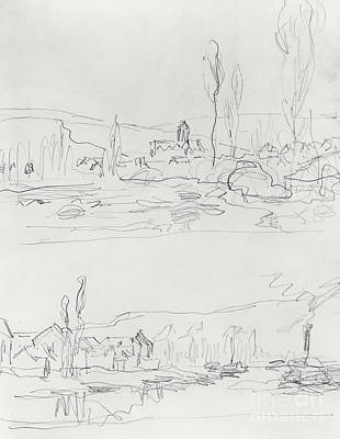 Loose Style Drawing - Vetheuil From L'ile St Martin And Tugboat On The Seine Before Lavacourt, Before 1886 by Claude Monet