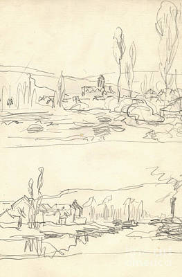 Claude Drawing - Vetheuil Seen From The Ile Saint Martin, Tugboat On River Seine Facing Lavacourt by Claude Monet