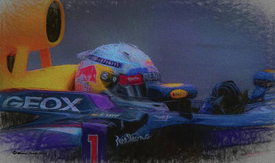 Wheel Mixed Media - Vettel And Redbull by Marvin Spates