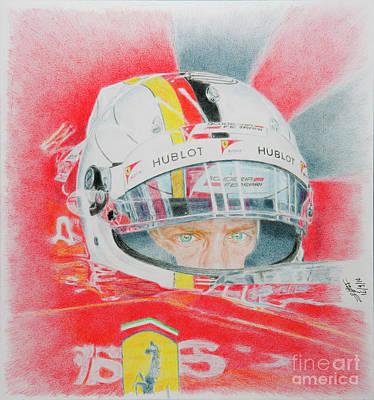 Benetton Wall Art - Drawing - Vettel Going For Pole by Lorenzo Benetton