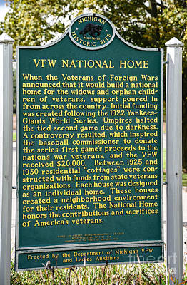 Photograph - Vfw National Home Michigan Historical Site Sign by Grace Grogan