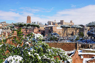 Photograph - Via Dei Fori Imperiali Under The Snow by Fabrizio Troiani