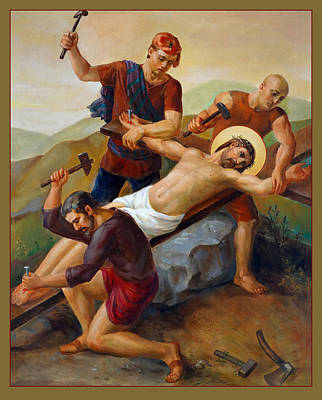 Priests Painting - Via Dolorosa - Jesus Is Nailed To The Cross - 11 by Svitozar Nenyuk