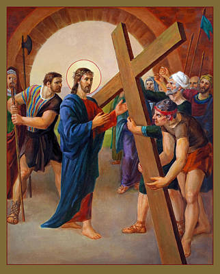 Crucifix Art Painting - Via Dolorosa - Jesus Takes Up His Cross - 2 by Svitozar Nenyuk