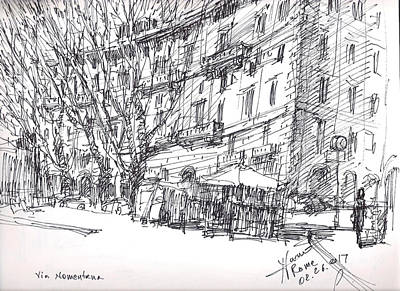 Cafes Drawing - Via Nomentana Rome by Ylli Haruni