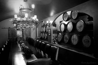 Photograph - Viaggio Winery Kings Table B And W by Joyce Dickens