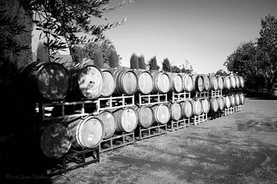 Photograph - Viaggio Winery Wine Barrels B And W by Joyce Dickens