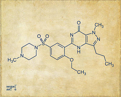 Digital Art - Viagra Molecular Structure Vintage by Nikki Marie Smith