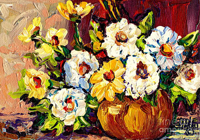 Painting - Vibrant And Beautiful White And Yellow Flowers Colorfuloriginal Painting By Carole Spandau by Carole Spandau