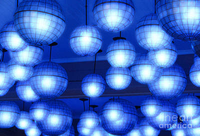 Photograph - Vibrant Blue Nightclub Lantern Lights Diffuse Glow Digital Art by Shawn O'Brien