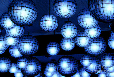 Photograph - Vibrant Blue Nightclub Lantern Lights Fresco Digital Art by Shawn O'Brien