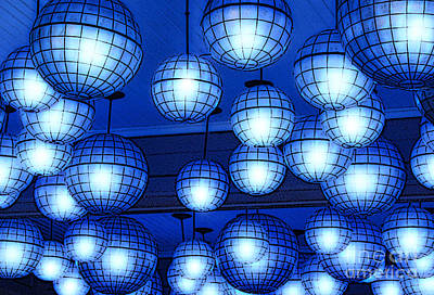 Photograph - Vibrant Blue Nightclub Lantern Lights Poster Edges Digital Art by Shawn O'Brien