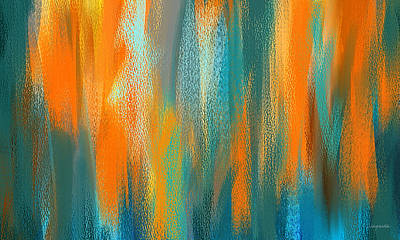 Terracotta Painting - Vibrant Blues - Turquoise And Orange Abstract Art by Lourry Legarde
