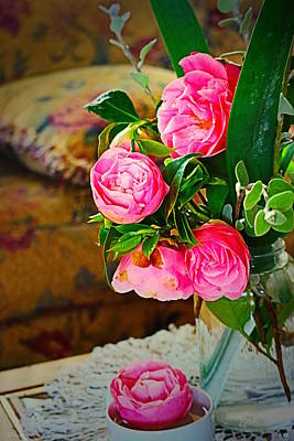 Photograph - Vibrant Camellia Bouqet by Joyce Dickens