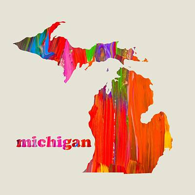 Michigan State Mixed Media - Vibrant Colorful Michigan State Map Painting by Design Turnpike