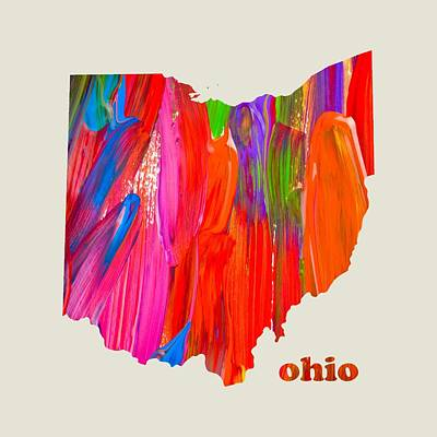 Colorful Mixed Media - Vibrant Colorful Ohio State Map Painting by Design Turnpike