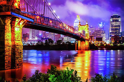 Photograph - Vibrant Colors Of The Downtown Cincinnati Skyline by Gregory Ballos