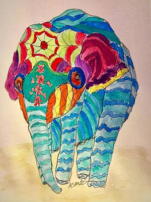 Painting - Vibrant Elephant by Anne Sands