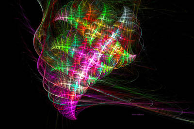 Ebsq Digital Wall Art - Digital Art - Vibrant Energy Swirls by Claire Bull