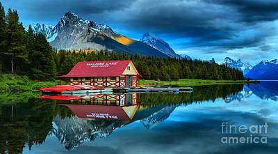 Photograph - Vibrant Evening At Maligne Lake Boathouse by Adam Jewell