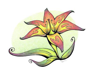 Drawing - Vibrant Flower 4 Tiger Lily by Sipporah Art and Illustration