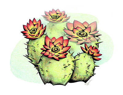 Drawing - Vibrant Flower 6 Cactus by Sipporah Art and Illustration