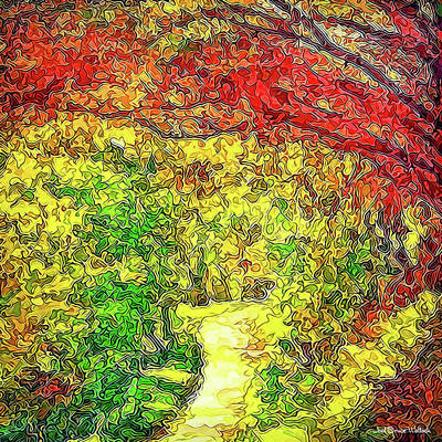 Art Print featuring the digital art Vibrant Garden Pathway - Santa Monica Mountains Trail by Joel Bruce Wallach