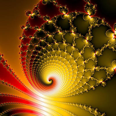 Digital Art - Vibrant Glossy Fractal Spiral Yellow And Red by Matthias Hauser