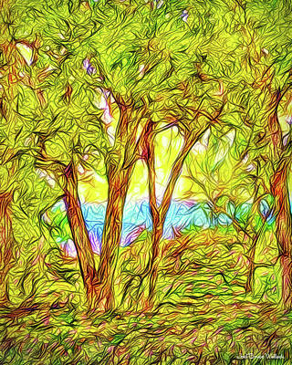 Digital Art - Vibrant Green Trees by Joel Bruce Wallach