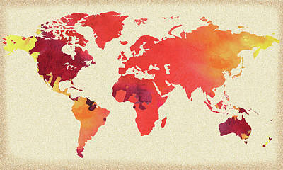 Painting - Vibrant Hot Watercolor World Map by Irina Sztukowski