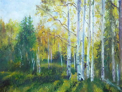 Vibrant Landscape Paintings - Arizona Aspens And Pine Trees - Virgilla Art Art Print by Virgilla Lammons
