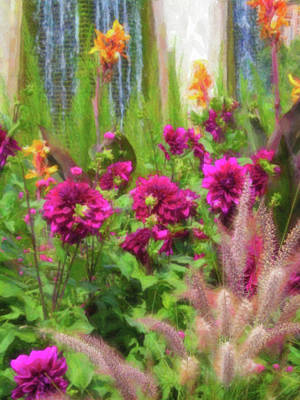 Digital Art - Vibrant Magenta Flowers With Cascading Water In Background by Barbara Rogers