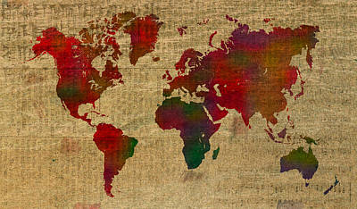On Paper Mixed Media - Vibrant Map Of The World In Watercolor On Old Sheet Music And Newsprint by Design Turnpike