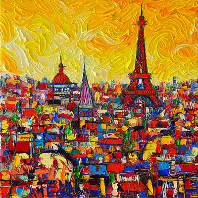 Eiffel Tower Painting - Vibrant Paris Abstract Cityscape Impasto Modern Impressionist Palette Knife Oil Ana Maria Edulescu by Ana Maria Edulescu