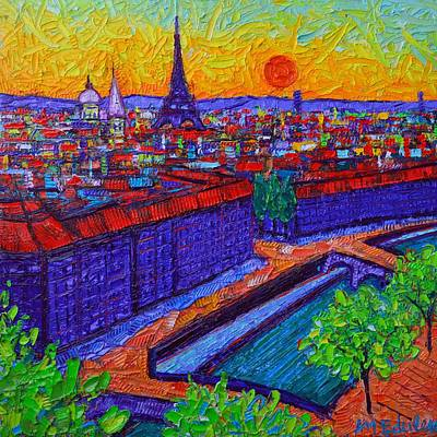 Painting - Vibrant Paris At Dusk View From Notre Dame Tower Palette Knife Oil Painting By Ana Maria Edulescu by Ana Maria Edulescu