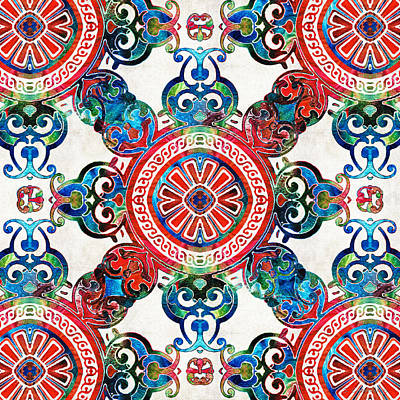Blue And Red Painting - Vibrant Pattern Art - Color Fusion Design 4 By Sharon Cummings by Sharon Cummings