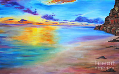 Painting - Rocky Sunset Shore by Nicole Burnett