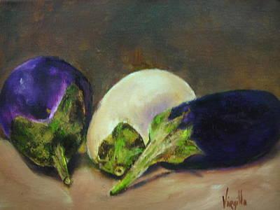 Vibrant Still Life Paintings - Eggplants Art Print by Virgilla Lammons