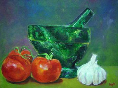 Vibrant Still Life Paintings - Morter Pestle Tomatoes And Garlic Art Print by Virgilla Lammons