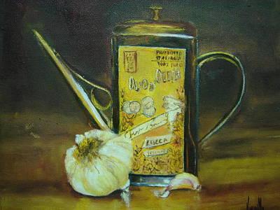 Vibrant Still Life Paintings - Olive Oil With Garlic - Virgilla Art Art Print by Virgilla Lammons