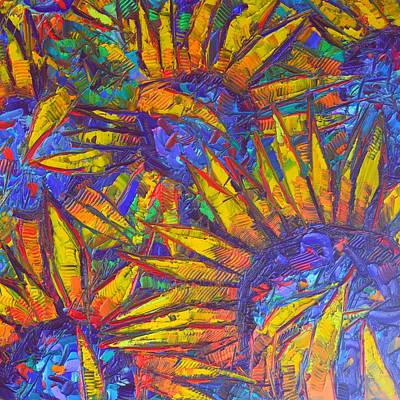 Painting - Vibrant Sunflowers Floral Art Impressionism Impasto Palette Knife Oil Painting By Ana Maria Edulescu by Ana Maria Edulescu